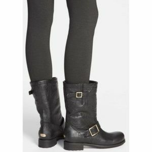 JIMMY CHOO Youth Metallic Suede Boots with Fur